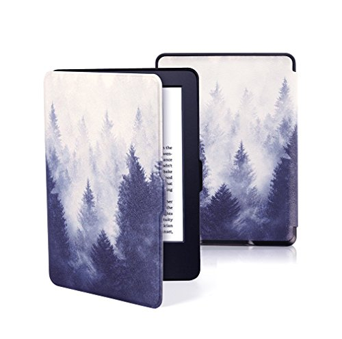 EZYOO PU Smart Case Cover fits for Amazon Kindle E-Reader Paperwhite 7th 8th Generations 2016 Prior to 2018 Auto Sleep   Wake Mist Forest Black(Will not fit Paperwhite 10th Generation)
