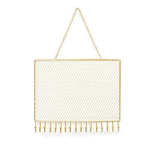 Organizador de joyas para colgar,colgador de exhibición de pendientes de metal montado en la pared con ganchos,colgantes de malla dorada,soporte para pulseras,armario 18 * 28cm