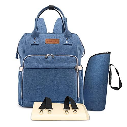 Multifunción pañal bolsa de pañales cambiador de viaje, gran capacidad mochila bolsa reutilizable, ligero elegante Durable Mochila con bolsillo botella aislante para mamá y papá (Lino azul)