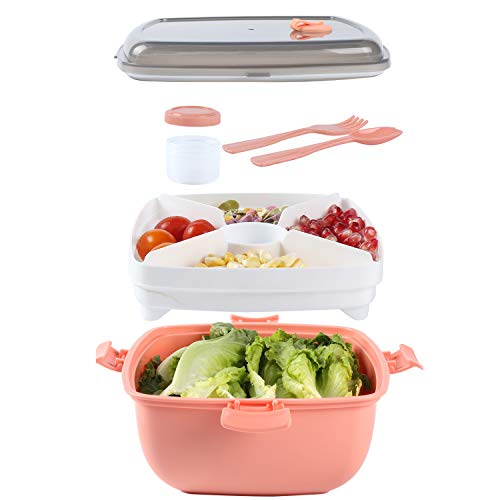 Salad Container to Go for Lunch, BPA-Free, 4-Compartment Bento Style Bowl for Salad Toppings and Snacks, with Dressing Sauce Container, and Built-in Reusable Fork Spoon (Rose)