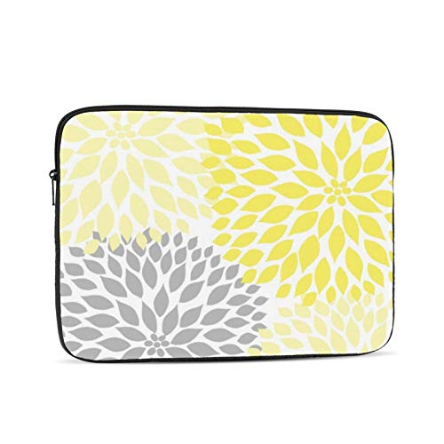 Yellow Grey Dahlia Floral 13 Inch Laptop Sleeve Bag Compatible with 13.3' Old MacBook Air (A1466 A1369) Notebook Computer Protective Case Cover