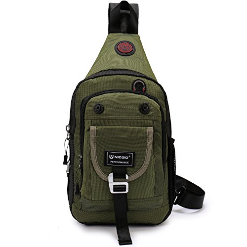 Nicgid Sling Bag Chest Shoulder Backpack Crossbody Bags for iPad Tablet Outdoor Hiking Men Women (Army green(Fits 11.6-Inch Laptop))