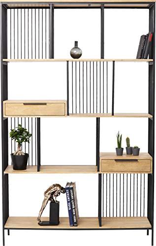 Kare Design Regal Modena, großes, offenes Wandregal, Bücherregal aus Holz und Metall, edler Raumtrenner für Wohn -und Esszimmer, modernes Regal, Raffiniertes Regal, (H/B/T) 200x125x35cm
