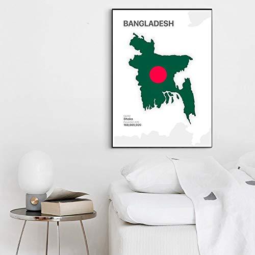 TELEGLO (No Frame) 50 * 70cm Karte & Flagge Kuwait Afghanistan Aserbaidschan Bangladesch Georgia Kirgisistan Kunst Leinwand Poster Wandbild für Wohnzimmer