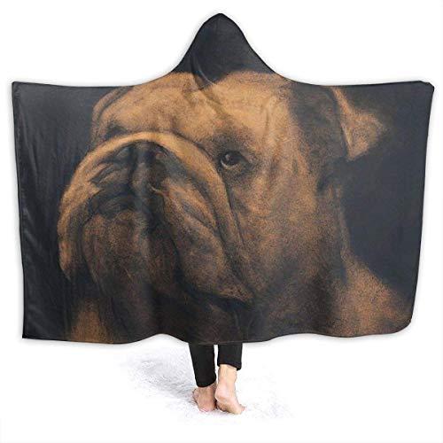 QUEMIN Hoodie Decke Olde Englisch Bulldogge Kapuze Throw Wrap Cape Umhang Sweatshirt Kinder Reversible Home Office Schal Flanell Fleece mit Ärmeln, 50'x 40'