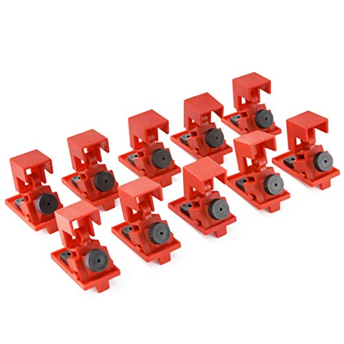 TRADESAFE Circuit Breaker Lockout Device - 10 Pack - 120/277 Volt - Lockout Tagout Electrical Breaker Clamp Lock Out - Loto Single Pole Breaker Lock Kit Refill for Stations