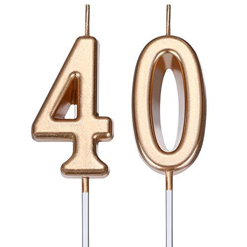 Velas de Cumpleaños de 40 Años Velas de Número de Pastel Velas de Torta de Feliz Cumpleaños Decoración de Tarta para Celebración de Aniversario Cumpleaños Boda (Dorado Champagne)