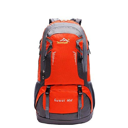 60L grande capacité portable léger sac à dos en plein air randonnée voyages équitation alpinisme Pack multifonction double épaule sac H61 x L37 x T21 cm , orange