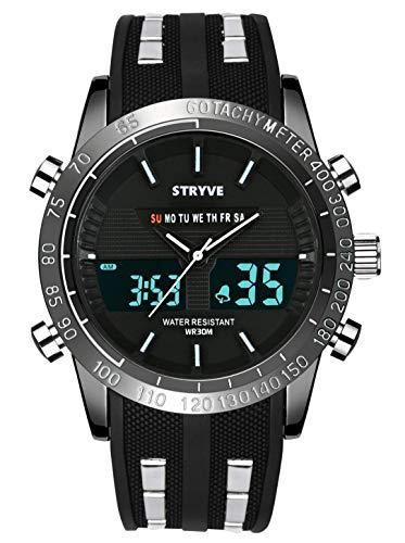 Reloj Deportivo Digital para Hombre Militar Big Face Impermeable Reloj analógico Cronómetro Army Shock Resistant LED Backlight Relojes de Pulsera para Hombres
