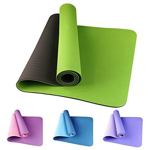 Etmury Yogamatte rutschfest Schadstofffrei Fitness Yogamatte Zweifarbige TPE Yogamatte Dünn Reise Grün