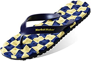 Men's Summer Flip Flops, Geometric Patterns Slippers Sandals Comfortable Non-Slip Toe Post Thongs Beach Shoes for Apartments, Hotels, Houses,Travel,Yellow,43/44