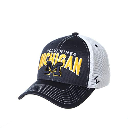 NCAA Michigan Wolverines Mens Richmond Performance Hat, Primary Team Color/White, Small