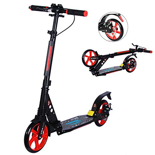 TENBOOM Kids Adults Scooters, Two Big Wheels Folding Kick Scooters with Carry Strap and Bell, Disc and Rear Dual Brakes, Height-Adjustable Scooter for Adults Teens, 220Lbs Max Load