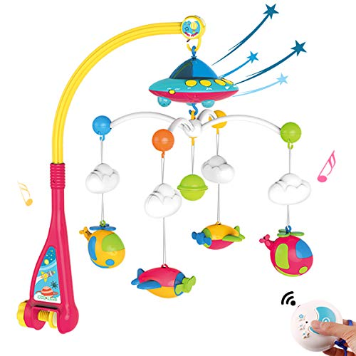 NUOEY Baby Musical Crib Mobile with Light and 108 Melodies Music Box,Star Projector Function, Remote Control and Hanging Airplane Rattles Rotating,Gift Toy for Newborn