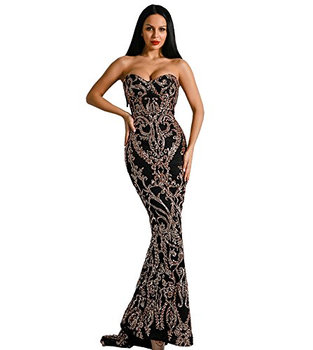 Miss ord Sexy Bra Strapless Sequin Wedding Evening Party Maxi Dress