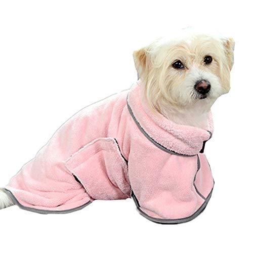 Toallas para Perros Albornoz para Perros Pet Toalla de baño Albornoz Perro Toalla de Perro de Secado rápido Perro Toallas Absorbente XS,Pink