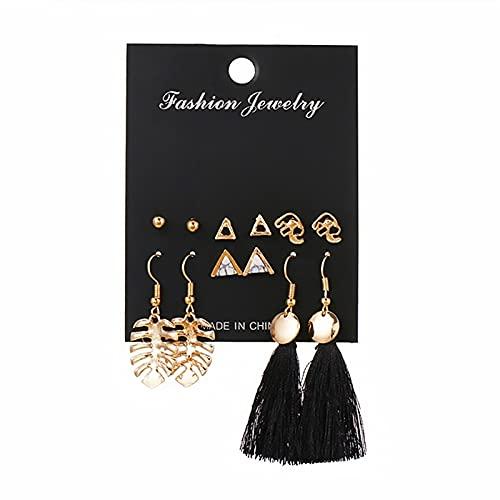 FEARRIN Pendientes Pendientes inusuales de Moda Conjunto para Mujer Flor de Moda Pendiente de botón de Metal geométrico Redondo Tendencia Joyería Femenina H178-E810