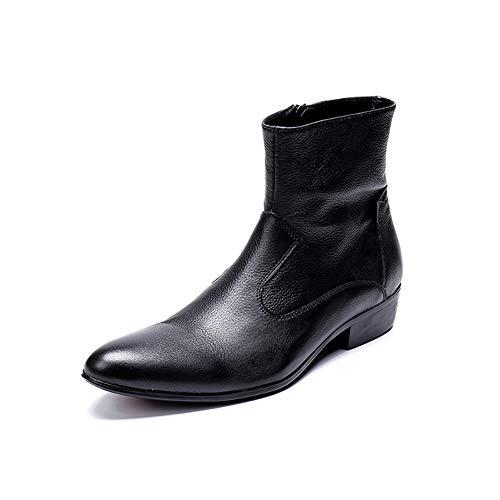 Story of life Bottines En Cuir Britannique Martin Bottes Montantes Derbies Chaussures Hommes Pointu Chelsea Bottillons,Noir,46