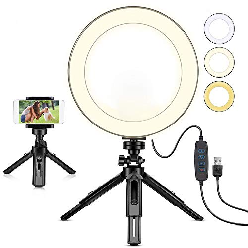 """8"""" Selfie Ring Light with Tripod Stand & Cell Phone Holder for Live Stream/Makeup 