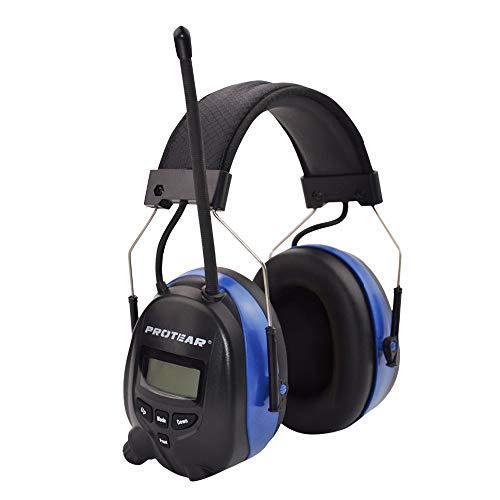 Gehörschutz mit Radio und Bluetooth, FM/AM-Digital-Radio und eingebautem Mikrofon, Protear Wiederaufladbare Lärmschutz-Ohrenschützer für Arbeits-und Industrie, SNR 30dB