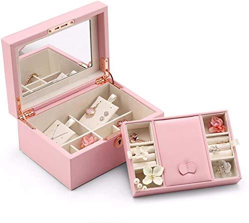 Jewelry Box for Women, Organizador de joyería de joyería de las niñas con la caja de almacenamiento de la exhibición de la joyería de bloqueo y espejo...