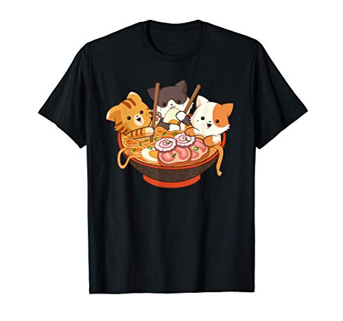 Kawaii Cute Anime Cats Otaku Japanese Ramen Noodles Gift T-Shirt