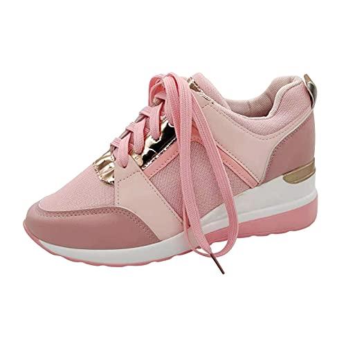 URIBAKY Femmes Baskets compensées Chaussures Respirantes en Maille décontractée Chaussures de Marche à Lacets, Chaussures de Running sur Route Outdoor Course Fitness Respirantes Sneakers