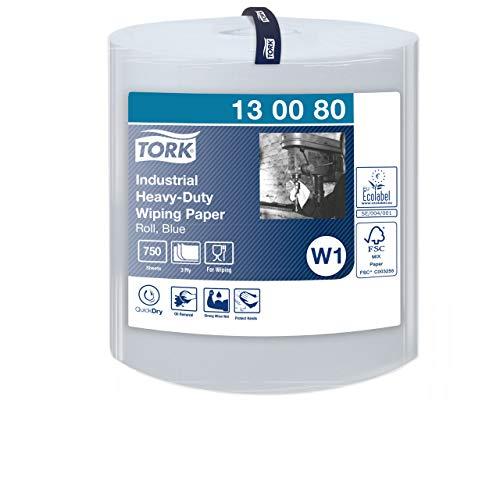 Tork 130080 Extra Starke Industrie Papierwischtücher für W1 Bodenständer- und Wandhalter-System / 3-lagige Putzpapier Rolle in Blau / Premium Qualität / 1 x 255 m