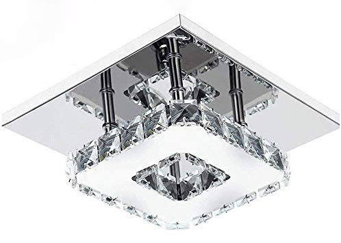 Modern LED Ceiling Lights Crystal Flush 21cm 12W 6000K Cold White Square Stainless Steel Mini Ceiling Lamp for Bedroom, Living Room and Hallway