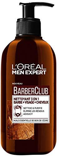 L'Oréal Men Expert - BarberClub - Nettoyant 3 en 1 Barbe Visage Cheveux Homme - À L'Huile Essentielle de Bois de Cèdre - 200 ml