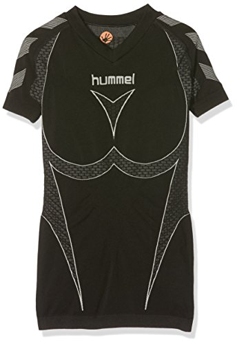 Hummel Mädchen Baselayer Hero Short Sleeve Jersey, Black/Dark Grey, 10-12