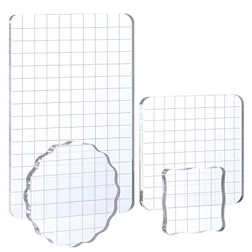 Whaline Large Acrylic Stamp Block Clear Stamping Tools Set with Grid Lines for Art Crafts Scrapbooking, 4 Pack