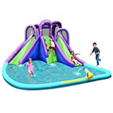 BOUNTECH Inflatable Water Park, Mighty Bounce House w/ Large Splash Pool, Climbing Wall, Double Slides, Water Cannon, Netting, Including Carry Bag, Repair Kit, Stake, Hose (Without Blower)