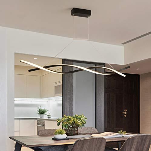 LED Lamparas de techo Modernas para Mesa de Comedor Salon Colgantes Regulable con Control Remoto Luz de Techo Chic Espiral Pantalla de acrílico Diseño Lámpara Cocina Oficina Habitacion Ilumina