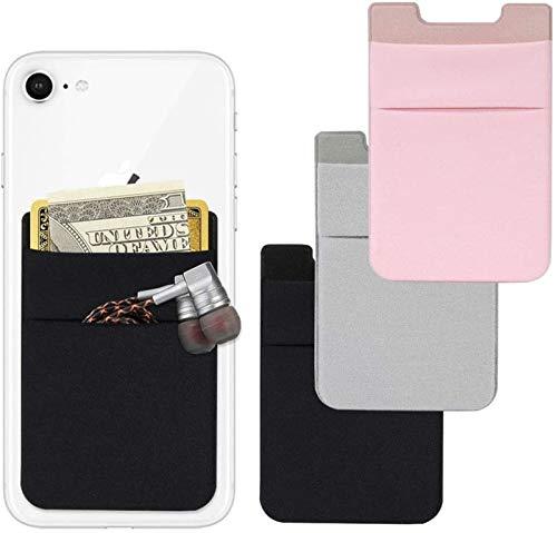 Billetera para tarjetas de teléfono, 4 piezas de licra adhesiva para tarjetas de identificación/tarjeta de crédito, compatible con teléfono inteligente Ban Lu Yi