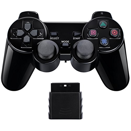 Wireless Controller Gamepad Twin Shock for PS2 Playstation2 (Jet Black)