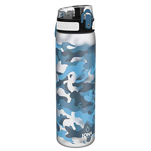 Ion8 Delgada Botella Agua, Sin Fugas, Camuflaje Azul, 600ml