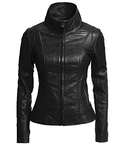 Trendtales Chaqueta de piel para mujer, piel de cordero, Negro SL896 XXL