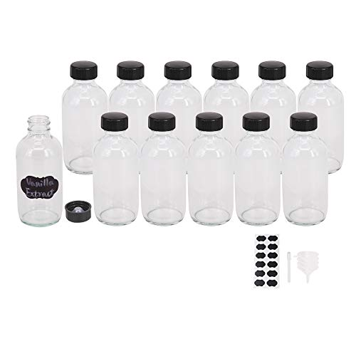 BPFY 12 Pack 4 oz Clear Glass Boston Bottle with Black Poly Cap, Funnel, Chalk Labels, Pen Dispensing Bottles for Homemade Vanilla Extract, Essential Oils, Herbal Medicine, Wedding Christmas Decor