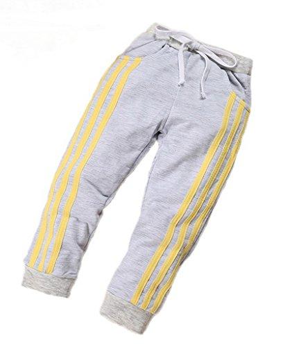 Bigood Enfant Printemps Automne Sport Pantalon Trois Rayures Jogging Gris Size 110