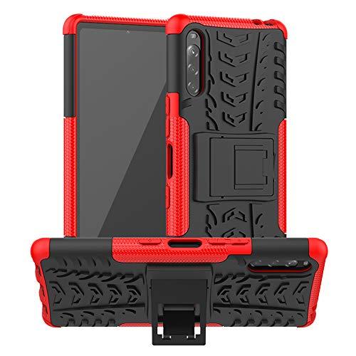 LiuShan Kompatibel mit Sony Xperia L4 Hülle, Dual Layer Hybrid Handyhülle Drop Resistance Handys Schutz Hülle mit Sony Xperia L4 Smartphone (Nicht für Xperia L1/L2/L3),Rot