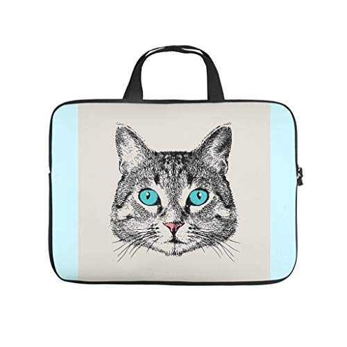 Cat Face Abrasion Resistant Waterproof Super Lightweight Laptop Bag with Strap Laptop case Sleeve Computer Carry Bag for Office School Business Trip for Men Women White 17 Zoll