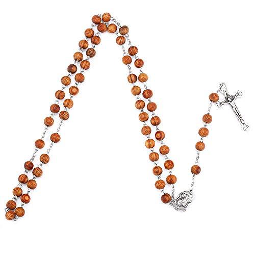Fontee® Katholieke Geschenken voor Vrouwen, Kruis Ketting Katholieke Rozenkrans Jezus Hanger, Beste Cadeau voor Moederdag, Pasen, Thanksgiving en Eerste Kerstdag