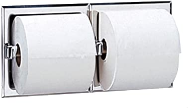 """Bobrick 6977 Stainless Steel Recessed Dual Roll Toilet Tissue Dispenser, Satin Finish, 12-5/16"""" Width x 6-1/8"""" Height"""