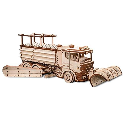 EWA Eco-Wood-Art SNOWTRUCK EWA EcoWoodArt 3D Holzpuzzle für Jugendliche und Erwachsene-Mechanisches Schneepflug-LKW-Modell-DIY-Bausatz, Selbstmontage, kein Kleber erforderlich