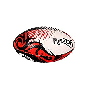 Optimum Razor Rugby Ball, Black/Red, Mini by Optimum