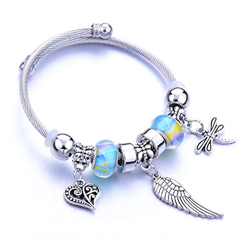 Armband Armreif Armkette Damen Trendy Elastic Metallperlen Armband Feder Schmuck Kette Armreifen Perlen Armband Schmuck-Rhodium_Plated