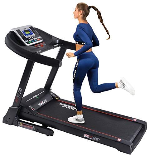 Miweba Sports elektrisches Laufband HT5000 - Incline bis 15% - Große Lauffläche – 3,5 PS - 18 km/h - 12 Laufprogramme - Innovatives Dämpfungssystem – Klappbar (Schwarz)