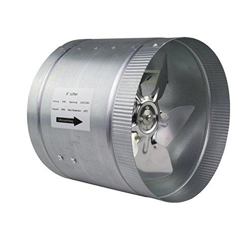LABT Rohrlüfter Zusatzlüfter Ventilator Durchmesser 200 mm Grow Kanallüfter Absaug Ansaug Industrie Gebläse Axial Zuluft Abluft für Bad Küche Aufzucht von Pflanzen und Vielen Mehr