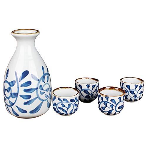 Juego de 5 piezas de sake japonés de cerámica duradera, tazas de cerámica pintadas a mano para sake caliente o frío en casa o restaurante (azul, 5)